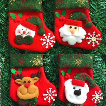 Christmas Gift Ornament Socks Bags Santa Claus Elk Snowman Pattern Fleece Hanging Stockings
