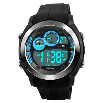 SKMEI 1234 Alarm Black Light Chrono PU Strap Digital Watch