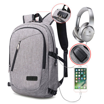 Men Women Polyester USB Charging Port Headphone Backpack Leisure Outdoor Travel Bag Weekender Bag