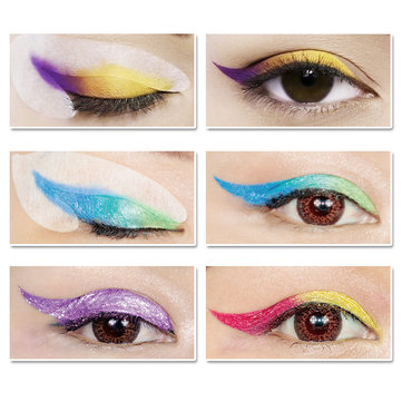 60Pcs Gentle Cat Eye Eyeliner Stencil Eye Shadow Guide Models Template Shaper Beauty Makeup Tools