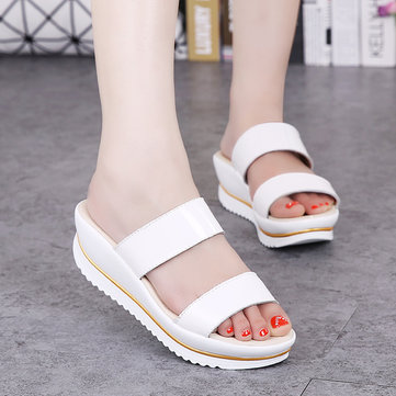 Women Summer Chic Slip On Sandals Peep Toe Wedge Sandals Fish Mouth Slippers