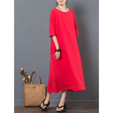 Women Half Sleeve Pocket Pure Color Loose Dresses