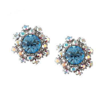 Simple Gemstone Ear Stud Micro Paved Flower Earring Classic Snowflake Piercing Earrings for Women