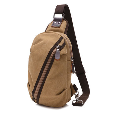 Men Canvas Casual Small Outdoor Zipper Black Coffee Khaki Shoulder Crossbody Bag
