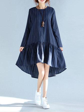 캐주얼 스트라이프 스윙 플리츠 플레어 느슨한 긴 소매 여성 드레스