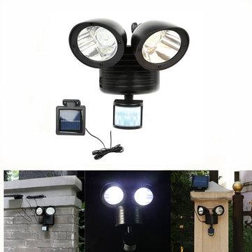 22 LED Rotatable Dual Head PIR Motion Sensor Solar Lights Garden Yard Wall Security Lamp
