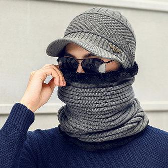 Bufanda de cuello de gorra de béisbol Slouch cálida de punto para hombre al aire libre Gorra de esquí resistente al viento