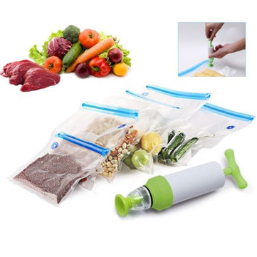 IPRee™ 5 Pcs Storage Bags Vacuum Food Sealer Packaging Manual Hand Pump Outdoor Travel Kitchen Tools