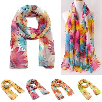 Women Lady Chiffon Scarf Long Soft Sunflower Wrap Shawl Scarves
