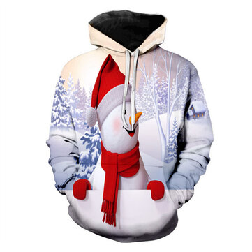 Mens Christmas Long Sleeve Drawstring Hooded Sweatshirt