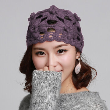 Womens Slouchy Hand-Woven Knit Beanie Hat