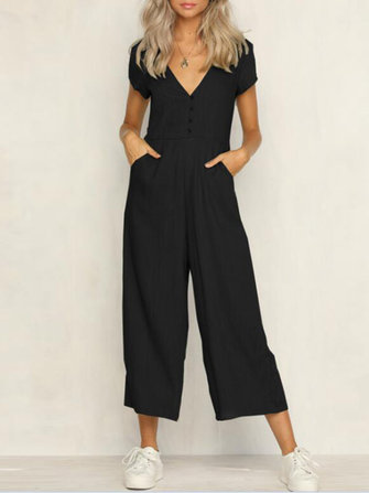 Women Sexy Casual V-neck Short Sleeves Button Pockets Overalls Jumpsuit