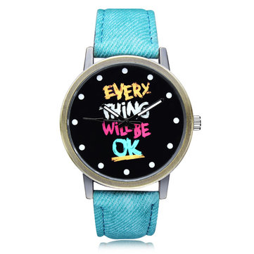Every Thing OK Blue PU Leather Big Dial Women Wrist Quartz Watch