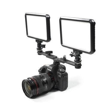 Dual Flash Light Hotshoe Ajustable Aluminium Alloy Braket Support Stand for DSLR Camera