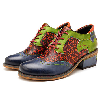 SOCOFY Handmade Stitching Leather Shoes