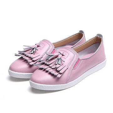 Women Summer Casual Tassels Slip-on Chic Flat Loafers Soft Sole Driving Shoes