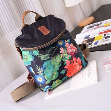 Women Canvas Genuine Leather Print Backpack