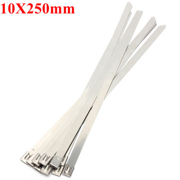 10pcs 10X250mm Ball Lock Metal Stainless Steel Zip Ties Wrap Strap