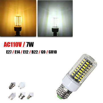 E14 E12 B22 G9 GU10 E27 LED 7W 74 SMD 5730 Fireproof Cover Corn LED Bulb Light AC110V