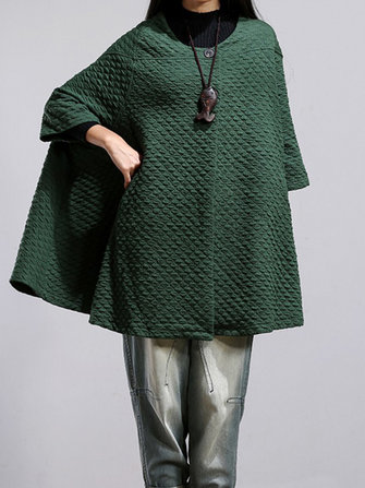 Women Vintage Loose Half Sleeve Poncho Cape Coats