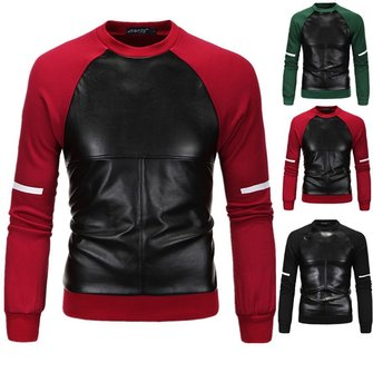 Fashion Pu Stitching Raglan Sleeve Sweaters Pullovers Mens Casual Cross Printing Sweatshirts