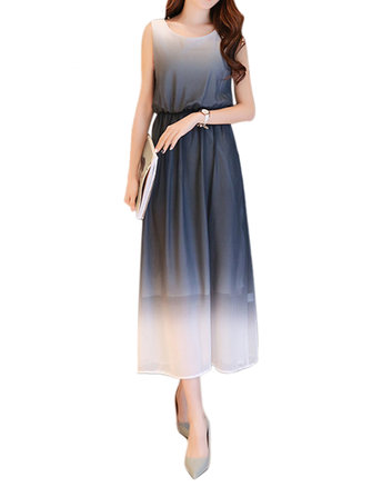Buy Elegant Women Sleeveless Color Gradient Chiffon Party Maxi Dress for $41.69 in Banggood store