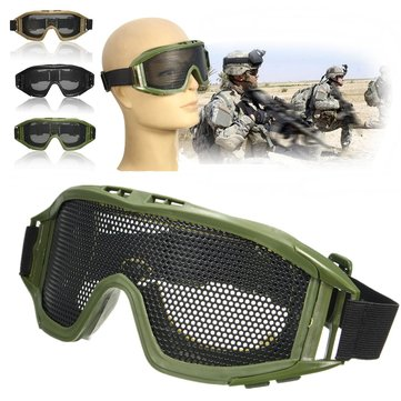 FJ-G004 Eye Protection Mask CS Tactical Airsoft Safety Protection Goggles Glasses Metal Mesh Eyewear
