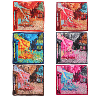 Women Ladies Silk Polyester Street Printing Big Satin Square Large Scarf Bandana Wrap Shawl