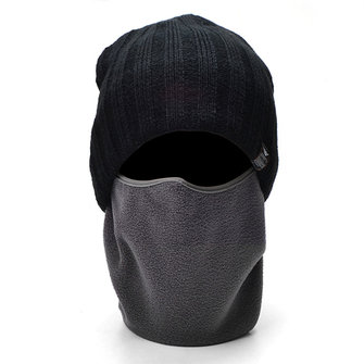 Mens Winter Thicker Earmuffs Knitted Beanie And Windproof Face Mask Stretchable Ski Mask Sets