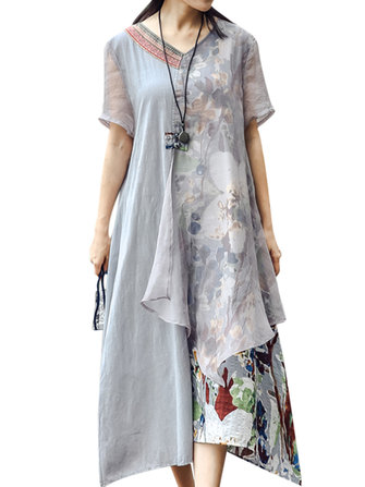 Vintage Women V-Neck Printed Patchwork Short Sleeve Dresses
