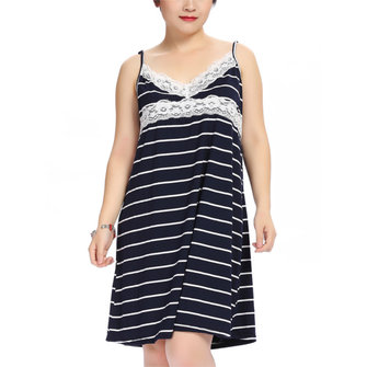 Plus Size Women Sexy Lace Stripe Sleepwear V Neck Spaghetti Strap Nightdress