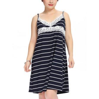 Plus Size Women Sexy Lace Stripe Sleepwear V Neck Spaghetti Strap Nightdress