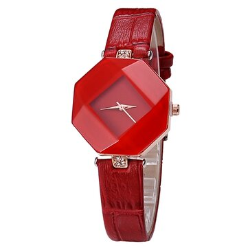 Luxury Polygon Case Dress Wristwatch Leather Ladies Women Quartz Watch