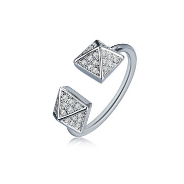 Fashion Platinum Plated Shiny Zircon Adjustable Pyramid Shape Open End Ring Jewelry for Women