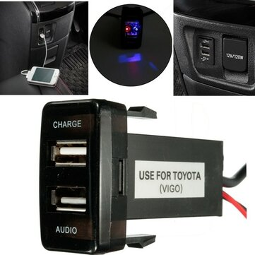 12V 5V 2.1A USB Port Cell Phone Mp3 Charger & Audio Input For Toyota Lexus Scion