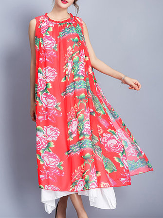 Floral Print Sleeveless Fake Two Pieces Women Chiffon Dresses