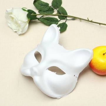 White Halloween Cosplay Costume Party Fox Mask Paper Pulp Mask