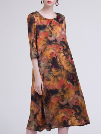 Elegant Women 3/4 Sleeve Abstract Printing O-Neck Dress
