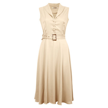 Women's Swing Party Dress Lapel Sleeveless Button Dresses With Belt
