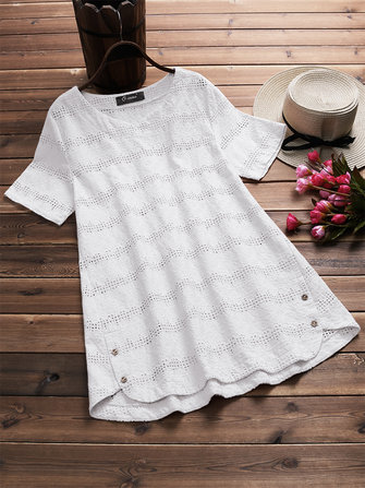 Plus Size Women V-neck Embroidered Crochet Shirts