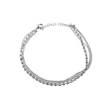 Women's Luxury Silver Multilayer Rhinestone Anklet