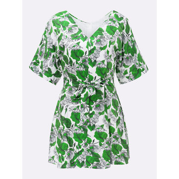 Bow Belt Slim Floral V Neck Women Chiffon Party Mini Dress