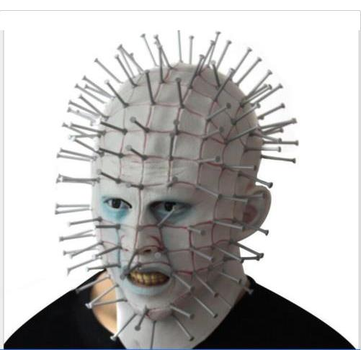 Halloween Horrifying Pinhead Men's Adult Mask Latex Hood Helmet Halloween Cosplay Prop