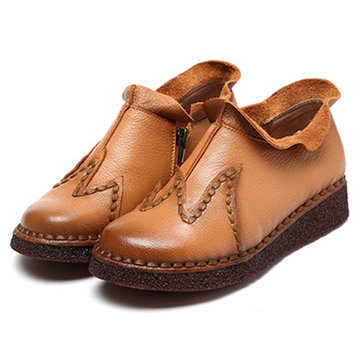 SOCOFY Soft Sole Genuine Leather Leisure Stitching Shoes