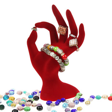 1Pcs Black/Red Velvet Jewelry Display Stand Ring Bracelet Necklace Hanging Hand Holder Show Rack