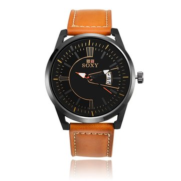 SOXY 0100 Ultra Thin Fashion Leather Strap Men Quartz Watch