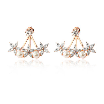 Sweet Flowers Rhinestones Pearls Ear Stud Earring Ear Jacket Cute Earrings for Women