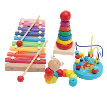 8 Notes Wooden Kids Baby Xylophone Glockenspiel Kit Musical Instrument Insect Early Education Toys