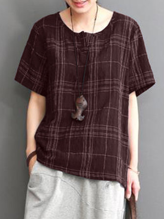 Women Vintage Short Sleeve Plaid Casual Loose Blouse