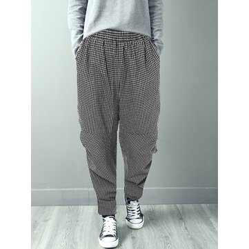 Women Casual Elastic Waist Plaid Harem Pants
